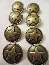 "13/16""   BRONZE Tone Metal Raised STARS  Shank Back  Buttons (8)"