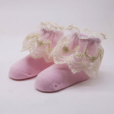 Baby Kids Girl Lace Cotton Sock Slippers Ankle Socks Pink 0-1Y