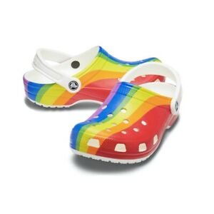 Crocs Classic Rainbow Stripe Clog Womens 8