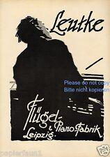 Klavier Leutke Leipzig XL Reklame 1924 Flügel Piano Ludwig Hohlwein Pianist ad
