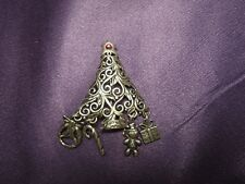 Sterling Silver Jezbine Christmas Tree Filigree Charms Brooch Pin Holiday