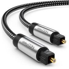 deleyCON 3m Toslink Kabel Nylon & Metallstecker Optisches Digital Audio Kabel