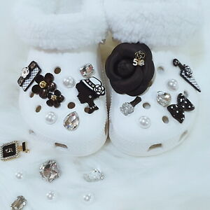 Shoe Charms Ornaments Accessories for Crocs-like Shoes - Bling Black Camellia