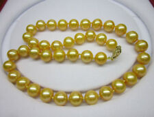 "18"" Charming 9-10mm Genuine gold south sea pearl necklace yellow 14K gold"