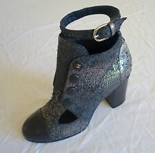 AUTHENTIC CHANEL DARK SILVER TEXTURED LEATHER CAP TOE BOOTIES / BOOTS (RARE!) 38