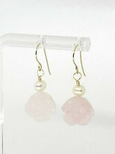 14k Yellow Gold Carved Flower Rose Quartz and Freshwater Pearl Dangle Earrings