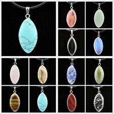 Wholesale lots 12pcs Fashion Natural stone Oval Pendants Necklace Christmas Gift