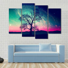Galaxy Wall Art Landscape Andromeda Galaxy over Earth Space Canvas Print 4 Pcs
