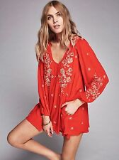 149481 NWT $148 Free People Sweet Tennessee Embroidered Cutout Mini Dress M