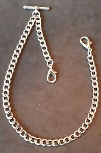 New silver colour Albert pocket watch chain with t-bar and  clasps,1 for own fob