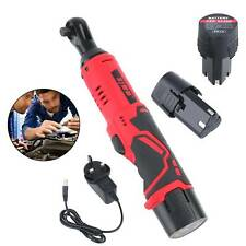 3/8'' 12V 90° 65Nm Electric Cordless Right Ratchet Angle Wrench Tool + 2 Battery