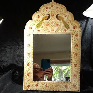 Metal Framed Mirror Boho Style Peacock + Floral World Mart