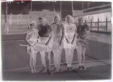 Glass Slide Negative 5 Woman Smiling Ladies Tennis Court Club Racquets c.1920