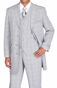 Men's 3 piece fashion Zoot Suit with Vest Black/White Designed in Italy #5265