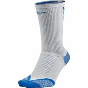 NIKE Elite Cushion Crew Golf Socks White Photo Blue NEW Youth 4-5.5 Womens 5.5-7