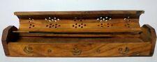 Incense Burner Wood carved Vintage Holder Ash Catcher Sticks Coffin inlaid Brass