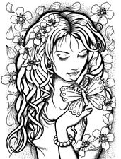 Blossom Girl Unmounted Rubber Stamp