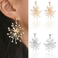 Fashion Women's Snowflake Geometry Earrings Pearl Charm Ear Studs Dangle Jewelry