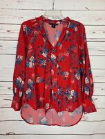 French Connection Women's XS Extra Small Red Blue Floral Cute Spring Top Blouse