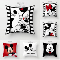 Disney MICKEY & MINNIE MOUSE Cushion Covers! Retro Cartoon Black White 45cm Gift