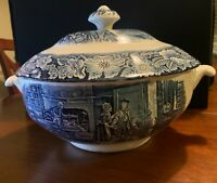 Liberty Blue Staffordshire ironstone BOSTON TEA PARTY Soup Tureen & Lid ENGLAND
