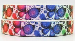 "BUTTERFLY Grosgrain RIBBON 1m x 22mm width (7/8"") birthday hair bow butterflies"