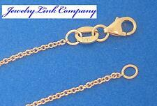 """14K Solid Rose Gold Oval Link Chain 1.5mm 4.3grams 30"""" Italian Pendant Chain"""