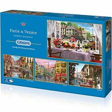 GIBSONS PARIS & VENICE 4 x 500 PIECE JIGSAW PUZZLE