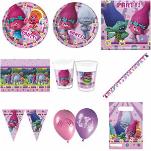 Trolls Party Plates Napkins Balloons Banners Bunting Table Cover Cups