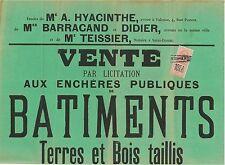 DROME - RATIERES ET BATHERNAY - AFFICHE AVEC TIMBRE FISCAL - 18 MAI 1913.