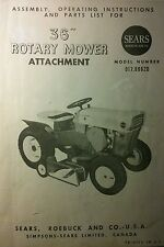 "Sears Custom 6 Garden Tractor 36"" Mower Deck Owner & Parts Manual 10pg 917.99620"