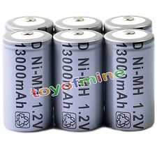 6x D Size D-Type D Type 13000mAh 1.2V Ni-MH Rechargeable Battery Cell Grey