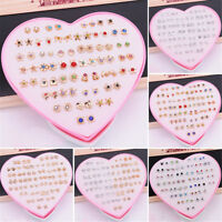36 Pairs Fashion Women Girls Crystal Diamante Flower Stud Earrings Jewelry Set