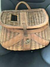 Antique Split willow fishing creel trimmed in saddle leather 1920-50's vintage!