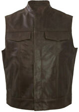 Sons of Anarchy Leather Motorcycle Waistcoat Mens Biker Cut-Off Vest JAX Brown