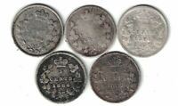 5 X CANADA 5 CENT SMALL NICKELS QUEEN VICTORIA STERLING SILVER COINS 1880H -1887