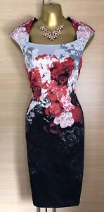 Exquisite Karen Millen Galaxy Floral Stretch Wiggle Pencil Dress UK10 Stunning