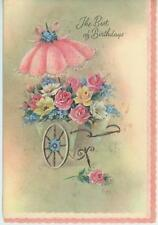 VINTAGE PINK PARASOL GARDEN FLOWERS CAR ROSES POPPIES FORGET ME NOTS CARD PRINT