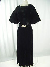 Vtg 30s Black Velvet Silk Dress w/Marked Rhinestones Buckle Belt-Bust 36/XS