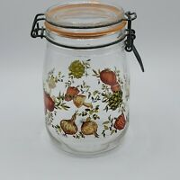 Vintage ARC Glass 1 Liter Jar Canister Vegetables Print Wire Bail Lid France New