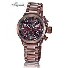 El rey obra Wrist Watch, Brown Steel Band, metalizado Brown dial, 5 hands, Konigswerk