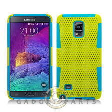 Samsung Galaxy Note 4 Hybrid Mesh Case Yellow/Teal Cover Shell Protector Guard