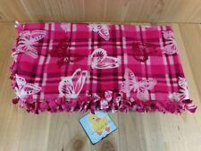 "FLEECE Throw Blanket 48x25"" PINK WHITE BUTTERFLIES Handmade Tied Edges"