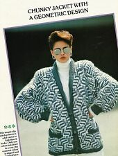 "1723 Ladies Chunky Geometric Jacket 34-38"" 86-97cm Vintage Knitting Pattern"