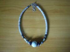 Halskette Kette Collier LANGANI grau bis grünlich/türkis  aus Stein