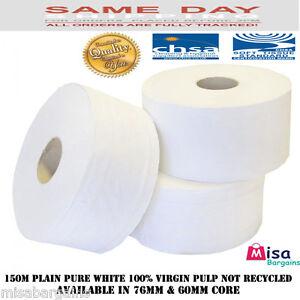 Quality Soft Mini Jumbo Toilet Rolls 150m metre 2Ply 60/ 76mm core Pure White