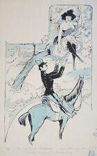 Dessin original de Noel SCHUSLER vers 1905 Militaire cheval ART NOUVEAU