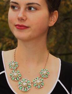 KATE SPADE NY BELLE GARDEN PEARL NECKLACE & EARRINGS SET GREEN ENAMEL CRYSTALS