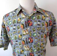 St Croix Large Hawaiian Shirt Unique Multi Color Silk Cotton Blend SS Made Italy