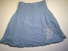 NWT Tommy Hilfiger Sz 10 Blue Knee Length Pleated Lined Embroidered Linen Skirt